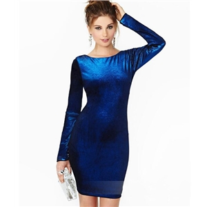 Open Back Long-sleeve Round Neck Velvet Dress