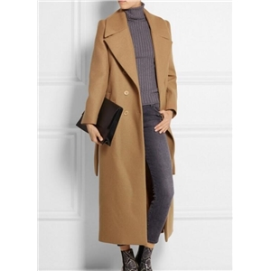 Camel Lapel Collar Belt Woolen Long Coat