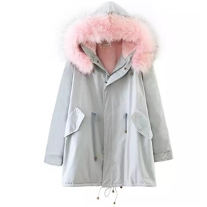 Pink Faux Fur Trim Drawstring Fleece Inside Hooded Coat