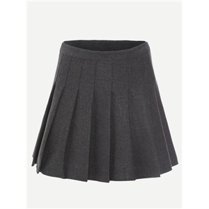 Grey Zipper Side Pleated Skirt