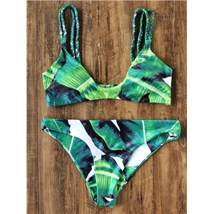Green Tropic Print Braided Strap Bikini Set
