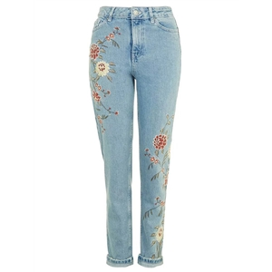 Retro Floral Embroidered Jeans