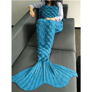 Fish Scales Design Crochet Knitting Mermaid Tail Style Blanket