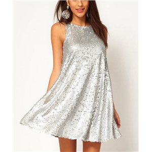 Silver sparkle sequined sleeveless dresses
