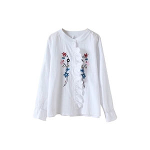 Shirt Sweet Solid Embroidery Ruffle Top Fashion Shirt