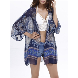 Cover Up Classic Pattern See Through Beach Cover Up
