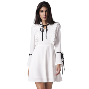 Lotus leaf trim trumpet sleeves dress