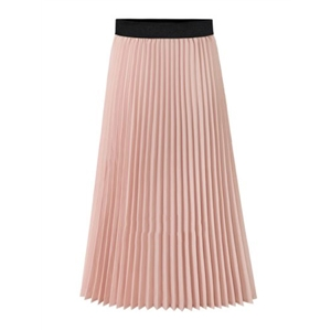 Skirt Elastic Waist Colorblock Casual Pleated Plus Size Skirt