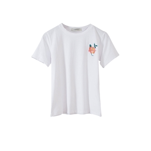 T Shirt Floral Embroidery White T Shirt