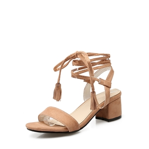 Sandals Trendy Crossing Straps Tassel Sweet Chunky Heel Shoes