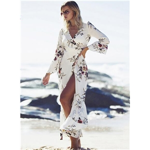 Floral Printed Cover up Long Kimono Beachwear