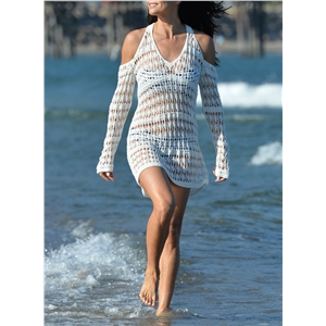V Neck off Shoulder Knit Cover up Beachwear