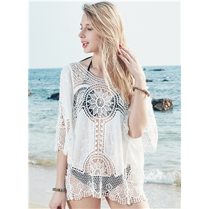 Hollow out Crochet Cover up Beachwear