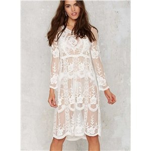 Long Sleeve Lace Bikini Cover up Dress