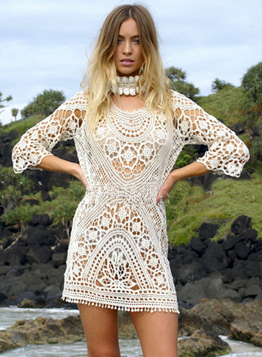 Lace Bikini Cover Up Mini Dress Victoriaswing