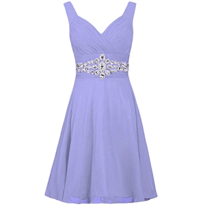V Neck Sleeveless Rhinestone Bridesmaid Dress