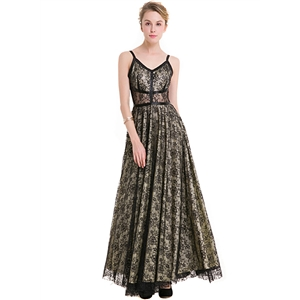 Spaghetti Strap Floral Lace Evening Dress