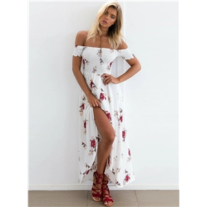 off Shoulder Floral Printed High Split Maxi Dress