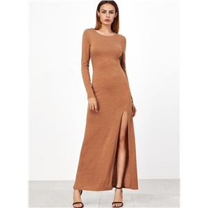 Fashion Side Split Slim Maxi Dress