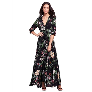 V Neck Elastic Waist Floral Printed Maxi Bohemian Dress