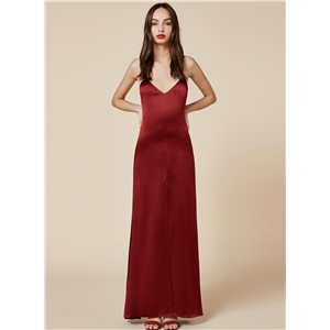 Spaghetti Strap High Slit Solid Maxi Prom Dress