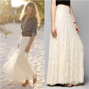 Thin waist lace openwork long skirt