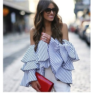 Off shoulder ruffle blouse  blue striped blouses