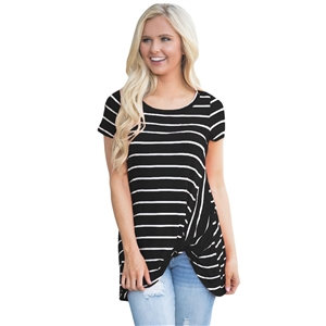 Fashion Front Knot Short Sleeves Striped Tee