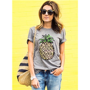 Short Sleeve Pineapple Printed Pullover Tee