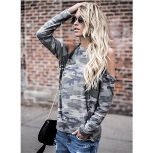 off Shoulder Long Sleeve Camo Printed Tee
