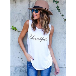 Casual Sleeveless Letter Printed Pullover Tank