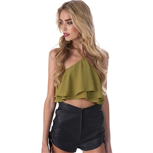 Halter Sleeveless Ruffle Crop Top