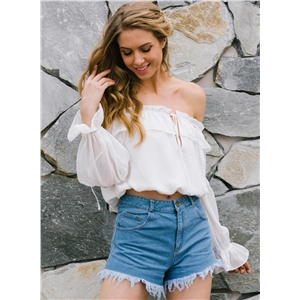 off Shoulder Long Sleeve Cropped Chiffon Blouse