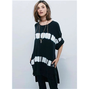 Short Sleeve High Low Knitted Tee Shirt
