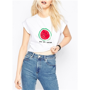 Cropped Round Neck Pattern Front Short Sleeve Tee