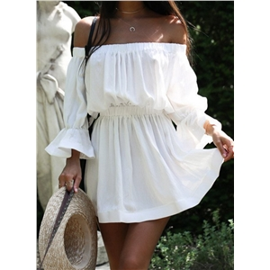 off Shoulder Elastic Waist Solid Dress