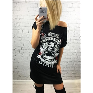 Fashion Short Sleeve Skull Printed Tee Dress