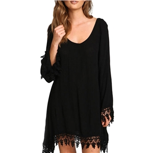 Scoop Neck Lace Paneled Asymmetric Dress