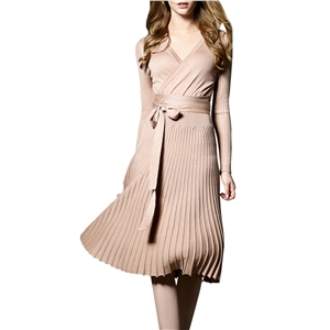 Faux Wrap Pleated Tie Waist Long Sleeve Knit Dress