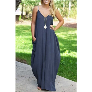 Fashion Spaghetti Strap On-Seam Pocket Maxi Dress