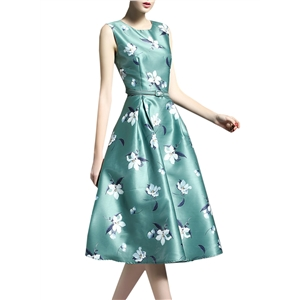 Sleeveless Floral Print Cocktail Party Dress with Belt