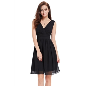 Classic Double V-Neck Ruched Waist Short Cocktail Party Dress