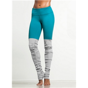 Skinny Color Block Ribbed Sports Foot Leggings