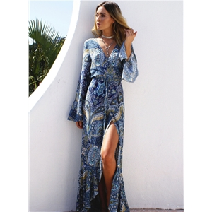 Boho Printed V Neck front Slit Dress