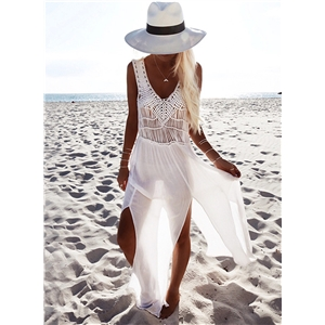 V Neck Sleeveless Slit Chiffon Beach Dress