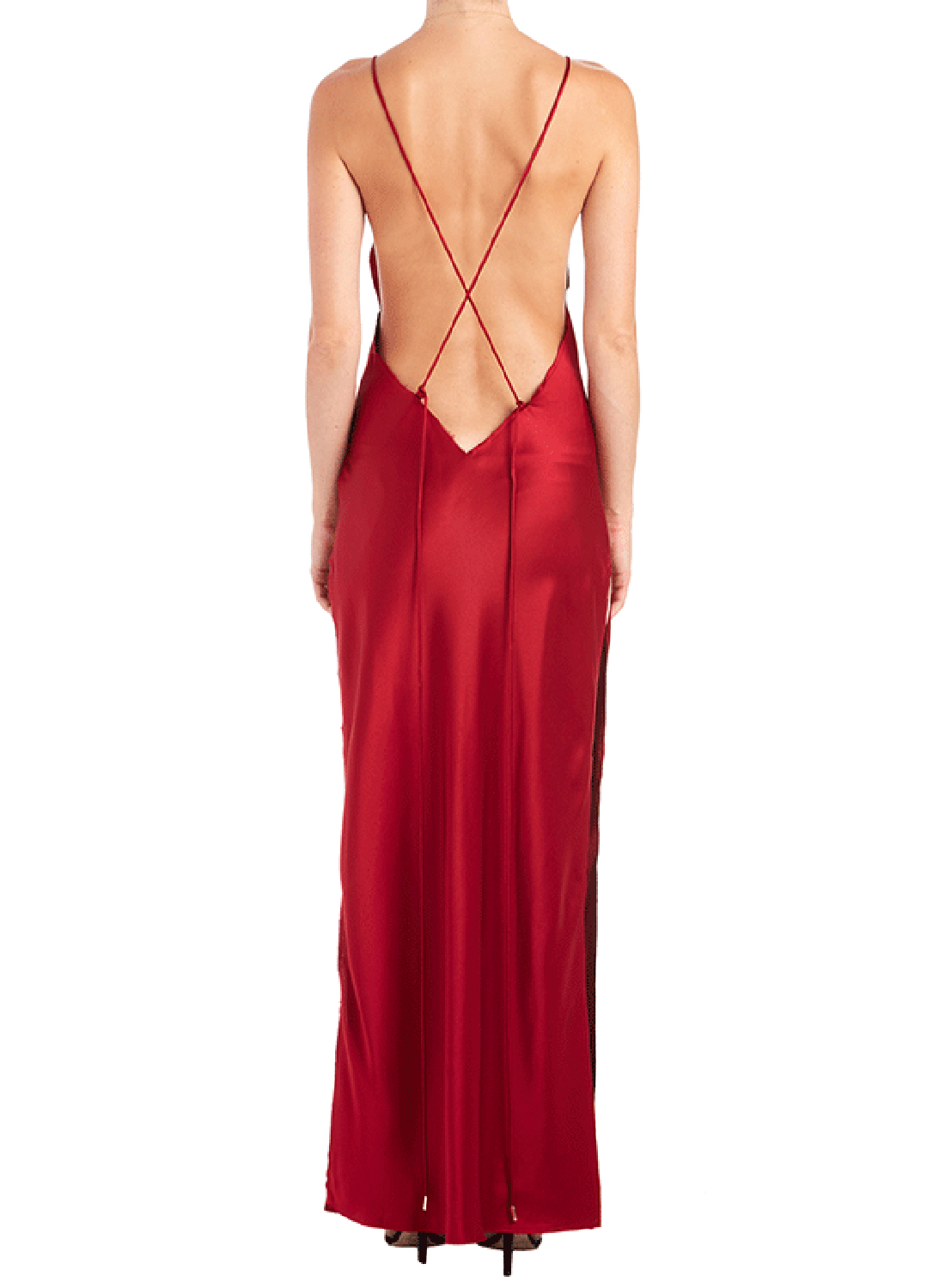 Deep V Neck Backless High Slit Dress Victoriaswing