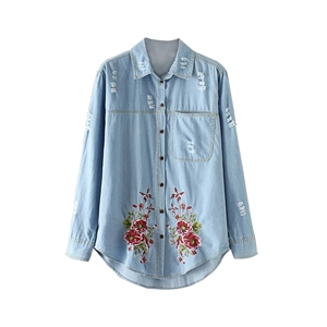 Denim Shirt Long Sleeve Embroidery Frayed Hole Design Denim Top
