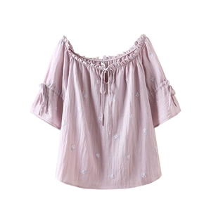 Blouse Slash Neck Solid Embroidery Blouse