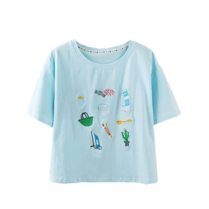 T Shirt Cute Embroidery Short Sleeve Cozy T Shirt