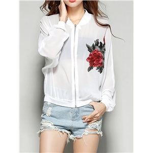 Bomber Jacket Floral Embroidery Long Sleeve Plus Size Outwear